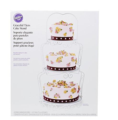 Wilton 307-841 Graceful Tiers Cake Stand Kuchenständer, Stahl, weiß