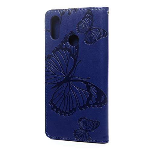 LaVibe Coque Huawei P Smart + Plus, Housse en Cuir PU Leather Etui à Rabat Papillon Fleurs Clapet Support Fermeture Magnétique Porte Video Stand, Flip Wallet Protective Case Cover–Bleu Foncé