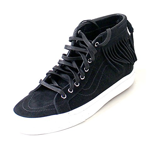 VANS donna sneakers alte frange 315JTZ SK8-HI MOC (SUEDE) Bianco-Nero