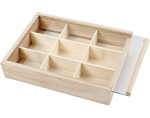 Caja de almacenamiento (Madera de con tapa de corredera de cristal