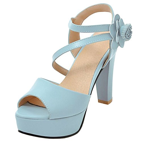 TAOFFEN Damen Mode-Event Plateau Peep-toe Slingback Block High Heel Party Sandalen 991 Blau