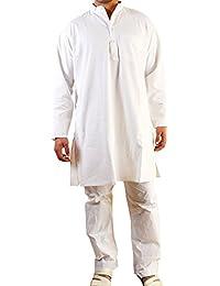 Khadi White Kurta for Men - Handwoven Khadi Fabric - 100% Cotton