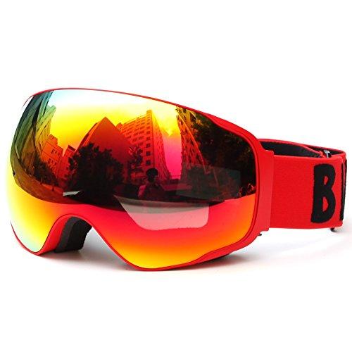Meao Maschere da Sci con Staccabile Grandangolare Lenti Goggles Ampio Angolo di Visione Anti Fog UV 401 Protezione #4204