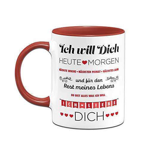 Tassenbrennerei Tasse mit Spruch Ich Will Dich jeden Tag, Ich Liebe Dich - Geschenk für Freundin, Frau, Geburtstagsgeschenk, Valentinstag (Rot) - 2