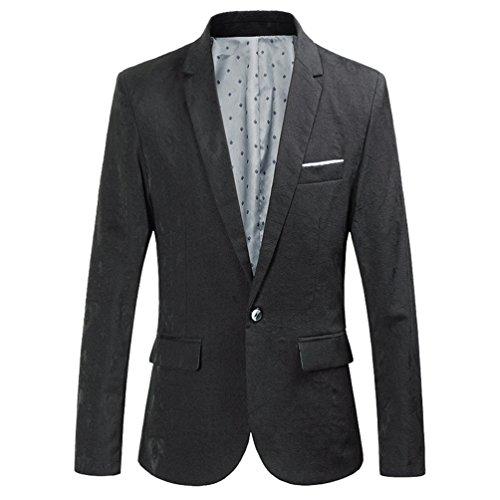 Schwarzen Smoking Stil Blazer (ZhiYuanAN Herren Retro-Stil Blazer Mantel Chic Smoking Anzug Jacke Mit Schlitz Mode Freizeit Sakko Outwear Tops Schwarz L)