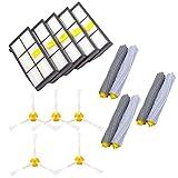 QHJ Ersatzteile für iRobot Roomba 860 880 805 860 980 960 Staubsauger mit 13 Stück Filter (Gelb und Weiß)