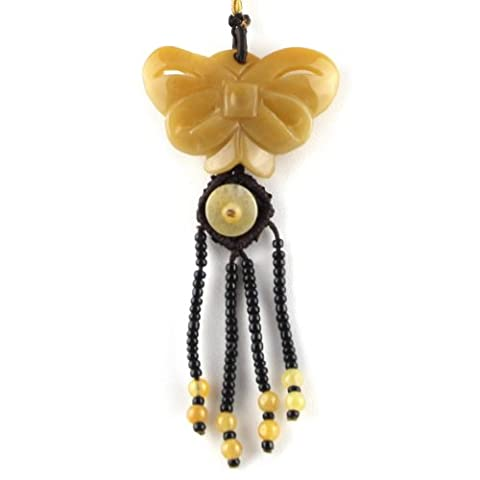 Peach Jade Stone Butterfly And Beads - Knotted Bead Detail - Brown Adjustable Necklace