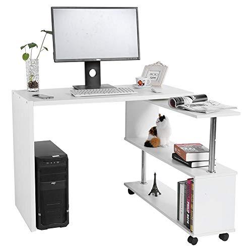 EBTOOLS Bürotisch, Drehbarer Eckschreibtisch L-Form Schreibtisch Computertische für Heim und Büro, 100 * 48 * 75 cm + 70 * 25,5 * 70 cm (Weiß) (L-form Schreibtisch Weiß)
