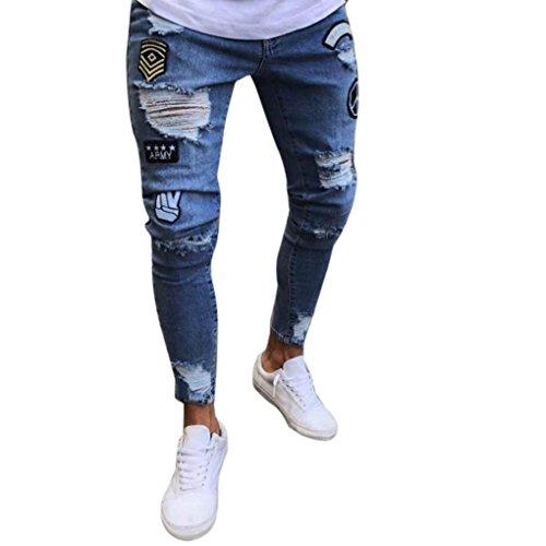 6b2fbd3e90432e 5. Herren Jeans mit Stickerei Skinny Destroyed Löchern Jeans Denim Jeanshose  mit 4 Farben Slim Fit Jeans (32W   30L