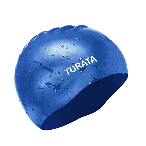 turata Swimming Cap - TURATA Waterproof Unisex Premium Earmuffs Silicone No-Slip Swim Cap for Adults Kids Woman and Men One Size Hat - Black & Blue