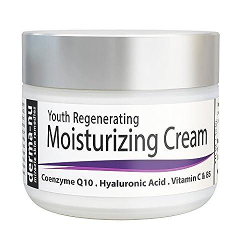 Crème anti-âge pour le visage - meilleure crème hydratante et le traitement des rides - Crème pour la peau pour la peau sèche - Rempli Organic Antioxydants + CoQ10 + Acide Hyaluronique + Vitamines - 2 oz