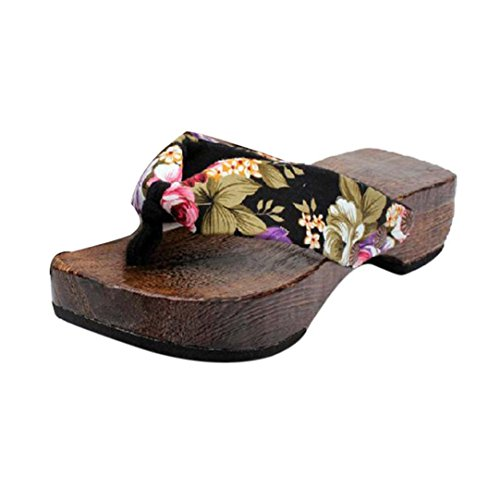 Damen Flip Flops, Xinan Sommer Plateauschuhe Holz Damen Sandalen Clog Holz Pantoffeln Schuhe (39, Schwarz) -