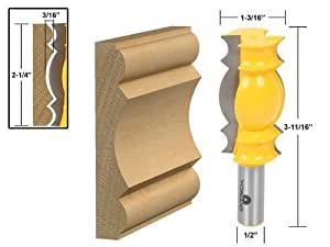 Yonico 16146 Large Crown Molding Router Bit 1/2-Inch Shank by Precision Bits.com