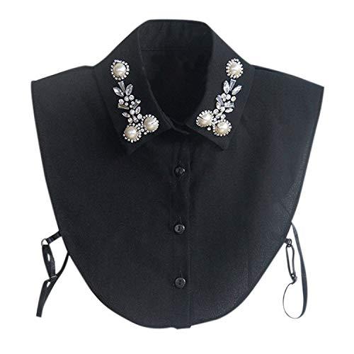 Jolisson Damen Abnehmbare Gefälschte Halb Revers Perle Vintage Schwarz Weiß Strass Hemdbluse Kragen mit Verstellbaren Bändern