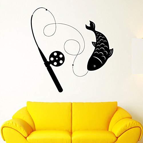 supmsds Wohnkultur Anhaltspunkt Angelrute Fisch Hobby Wandaufkleber Tier Vinyl Aufkleber Dekorative Wohnzimmer Abnehmbare Tapete 102X106 cm