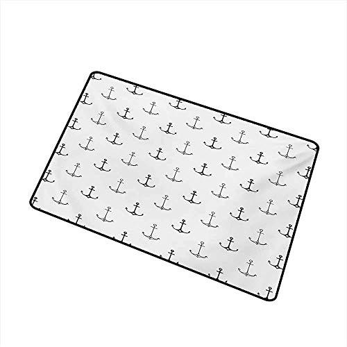 ürmatte Teppich Monochrome Figuren mit kleinen Herzen Hipster Hand gezeichnete Tattoo Art Style Retro Maschine waschbar Fußmatte, schwarz weiß Badematte ()