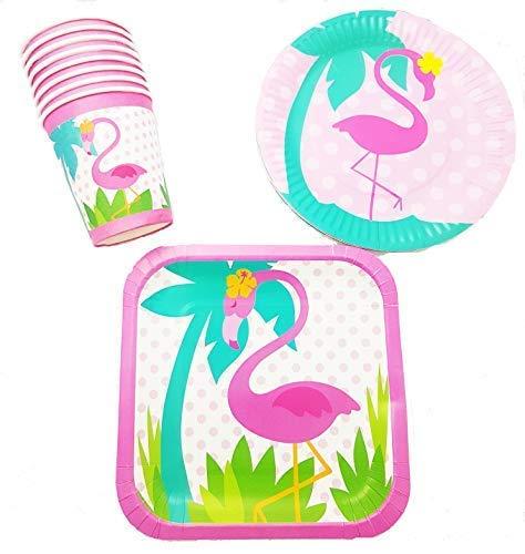 Polka Dot Sky Sommer Flamingo Party Geschirr Packung Teller Becher Leuchtende Farben 8 Packung (32pcs)