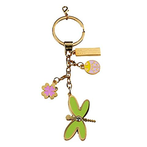 Enzo Miccio P082500 Crown Keyring, Dragonfly Shape in Gold-Coloured Metal