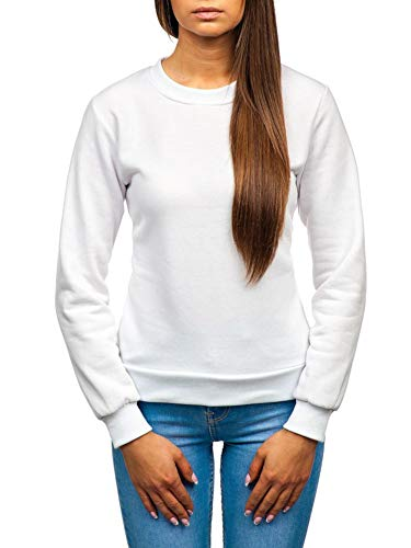 BOLF Damen Sweatshirt ohne Kapuze Aufdruck Rundhalsausschnitt Sportlicher Stil J.Style W01 Weiß S [A1A]