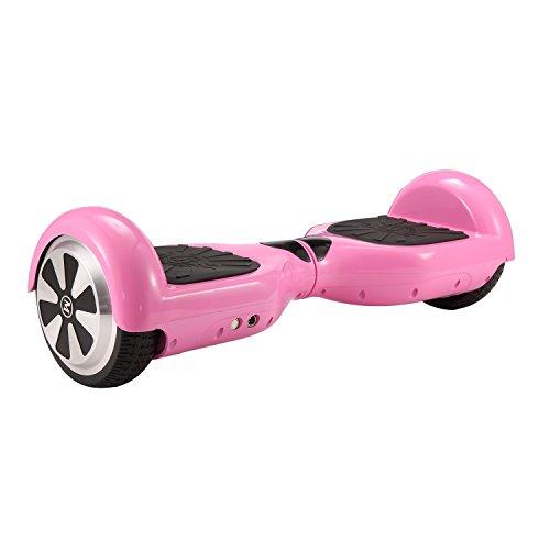 Megawheels Hoverboard 6.5' Patinete Eléctrico Scooter Auto Electrico Patinetes, Monopatín Eléctrico con Certificado UL2272 y Bluetooth y LED para Niños y Adultos (Rosa)