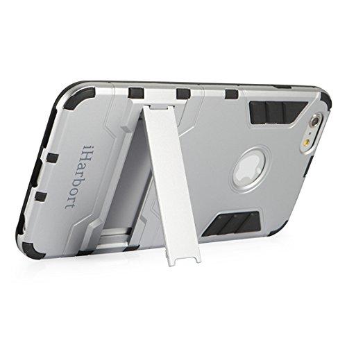 iPhone 6S Coque - iHarbort® protection Apple iPhone 6 6S Armor Case Housse Etui pare-chocs Cover béquille intégrée + protecteur d'écran (gris) argent
