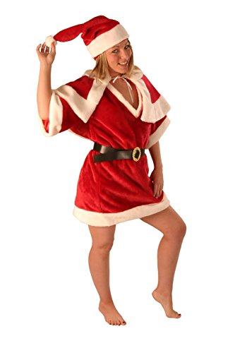 Creative Collection Weihnachten Kostüm-Girl Santa Dress-Sexy kurz 4 Stück Plüsch w Hüllen - Rot (Sexy Santa Girl Kostüm)