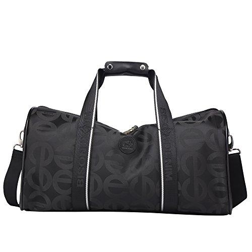 BISON DENIM Multifunktion Unisex Handgepäck Reisetasche Sporttasche Weekender Tasche für Kurze Reise am Wochenend Urlaub Arbeitstasche Rucksack Schwarz/N5033-1B