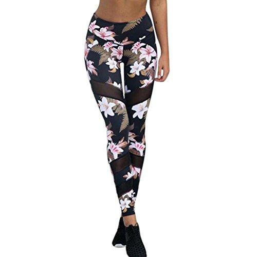 Elecenty Yoga Hose Dünne Lange Leggings Damen,Frauen Reizvolle Yogahose Mesh Patchwork Perspektive Blumenmuster Stretchhose Trainingshose Jogginghose Hüfthosen Activewear Hosen (M, Schwarz)