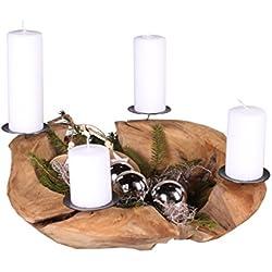 Trendy Home GmbH Adventskranz Teakholz Ø 50 cm Weihnachtsdekoration modern Holzschale Teakschale Kerzenhalter mit Kerzenpicks