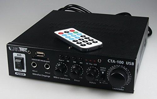 100-Watt-HiFi-Verstrker-Kompakt-MP3-Cinch-In-Stereo-SD-Slot-Fernbedienung-CTA-100-USB