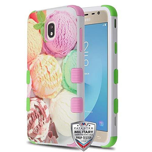 Rubber Case Cover Faceplate (Schutzhülle und Eingabestift, TUFF Hybrid-Schutzhülle [Militär-Zertifiziert] passend für Samsung Galaxy J7 Star/J7 V 2nd Gen/J7 Refine/J737P Galaxy J7 2018, Eisgelb, Grün und Rosa)