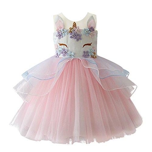 orn Kostüm Cosplay Kleid Party Outfit Kostüm Prinzessin Tutu Rock für Festival Performance Geburtstag Karneval Halloween Fotoshooting für Kinder Jugendliche 2-3 Jahre Rosa (Blumen-kind-halloween-kostüme)