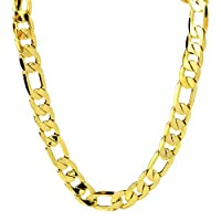 24 Mens Necklace Huge 18K Yellow Gold Filled Solid Figaro Link Chain 12mm 78g
