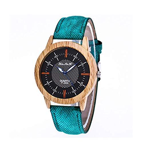 squarex Nature Holzuhr Minimalistische Uhr Bambus Denim Fashion Cool, Damen, g, AS Show