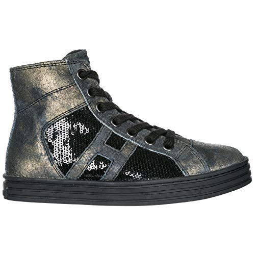 e14520f6321b5 ... basket montante enfant grigio HXT1410I390D5G0XBE .Hogan Rebel Baby R141  high-top Sneakers Nero 1 UK Child .