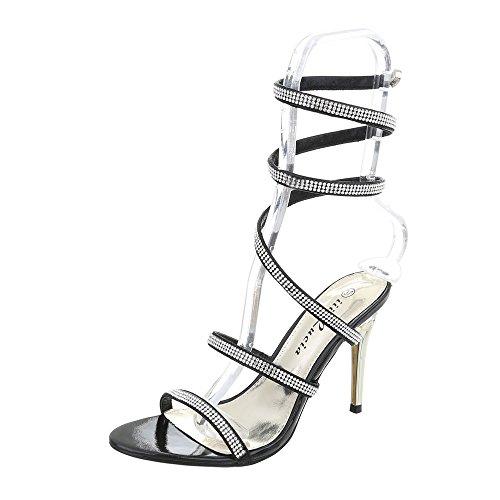Ital-Design High Heel Sandaletten Damen-Schuhe High Heel Sandaletten Pfennig-/Stilettoabsatz High Heels Sandalen & Sandaletten Schwarz, Gr 39, Jw925-