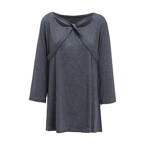 Preisvergleich Produktbild Hose Damen high Waist Plus Size, Art und Weisefrauen beiläufiges Plus Größen-Quadrat-Hals-Verband-T-Shirt übersteigt Bluse Grau3XL