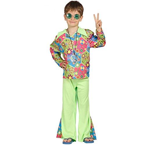 Kinder Kostüm Blumenkind - Amakando Flower Power Kinderkostüm Hippiekostüm Kinder M 128/134 7 - 9 Jahre Hippie Faschingskostüm Jungenkostüm Blumenkind Verkleidung Woodstock Peace Kostüm Jungen