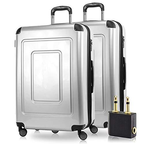 Happy Trolley - 2er Koffer-Set Trolley-Set Rollkoffer Hartschalen-Koffer Reisekoffer Lugano sehr leicht, TSA, 66 cm, 78L, (2xM), Silber +Audio Adapter - 24s Set