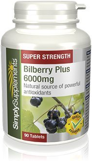 SimplySupplements Bilberry Plus 6000mg |Popular & Powerful Antioxidant|180 Tablets