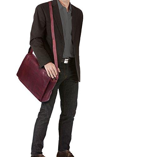 STILORD Rick Borsa Vintage a tracolla in pelle da uomo & donna Porta documenti PC 15.6 Messenger per Università e Ufficio vera pelle, Colore:cognac lucente rosso