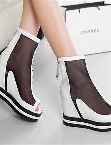 WSS 2016 Chaussures Femme-Décontracté-Noir / Blanc-Gros Talon-Talons-Chaussures à Talons-Polyuréthane black-us8 / eu39 / uk6 / cn39