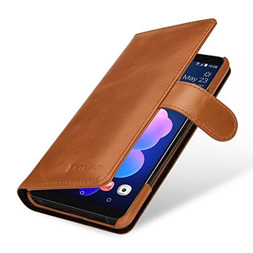 StilGut Talis Lederhülle für HTC U12+ mit Kreditkarten-Fächern aus Echtem Leder. Seitlich aufklappbares Flip Case in Brieftaschen-Format, Cognac