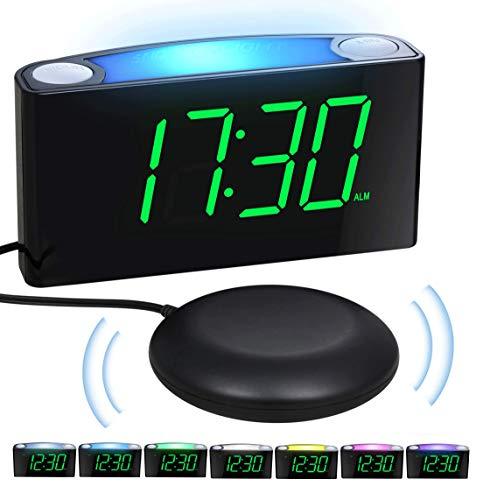 SvegliaDigitaleconVibrazione &LuceNotturna - DisplayaCifreGrandiOrologiodeComodino & Dimmer,2PorteUSB,12/24Ore,Batteria-Backup,Allarme Forte Sveglia per Pesanti Dormienti,Difficile Udito