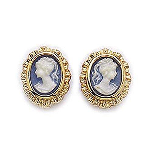 Paar Ohrringe Kamee 18Karat vergoldet–NEU