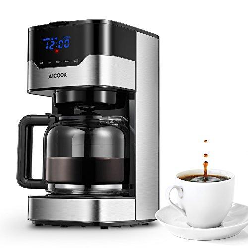 Aicook Cafetera con Temporizador Programable, Cafetera Goteo para 12 Tazas, Máquina de Café con Pantalla Táctil, Filtro Permanente, Sistema Antigoteo, Tanque de Agua DE 51 oz/ 1.5 Litros/ 900W, Negro