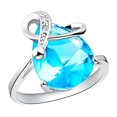 AnaZoz (Free Engarving) Fashion Jewelry Simple 1PCS Women Ring 18K White Gold Plated Bands Line Rings Water Drop Shaped Color Blue Size N 1/2