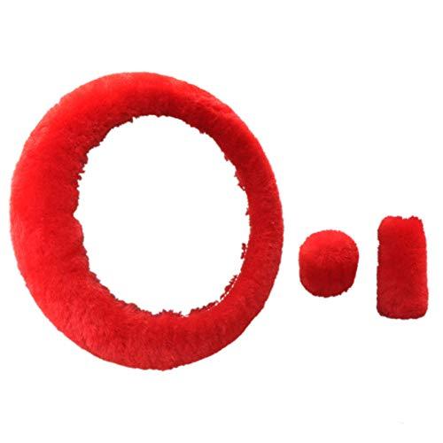 CUHAWUDBA Lenkrad PlüSch Auto Lenkung Rad BezüGe Winter Kunstpelz Hand Bremse und Getriebe Abdeckung Set Auto Innen Ausstattung Universal (Rot)