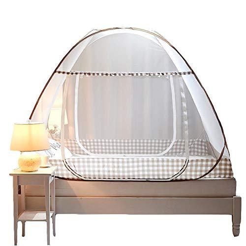 Wenset Pop up Moskitonetz, Doppeltür Für 6 ft Bett Faltbare Bequem Bett baldachin Insektenschutznetz Einfache installation Für Doppelbett-braun 1.8x2x1.5m