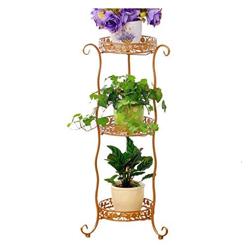 Petit jardin Cadre en Fleur de Fer Retro Black Multilayer Étagère Intérieur Living Room Plant Flower Display Stand Balcon Corner Plant Shelf (Couleur : Or)